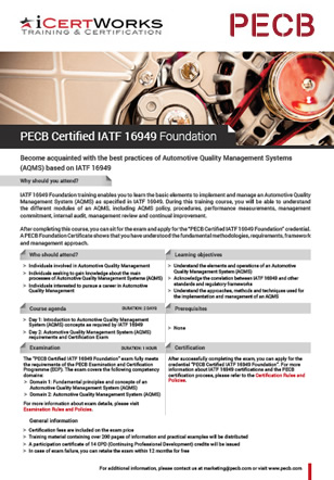 IATF 16949 Foundation Training Brochure