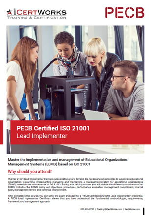ISO 21001 Lead Implementer Training Brochure