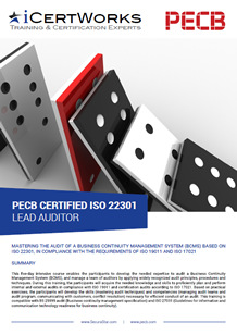 ISO 22301 Lead Auditor Training Brochure