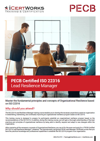 ISO 22316 Lead Resilience Manager Training Brochure