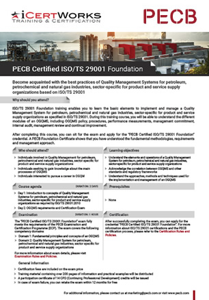 ISO 29001 Foundation Training Brochure