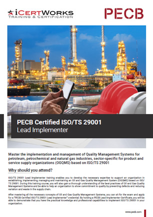 ISO 29001 Lead Implementer Training Brochure